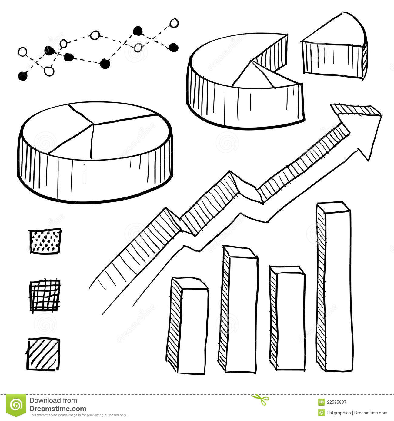 graph and chart elements sketch stock vector