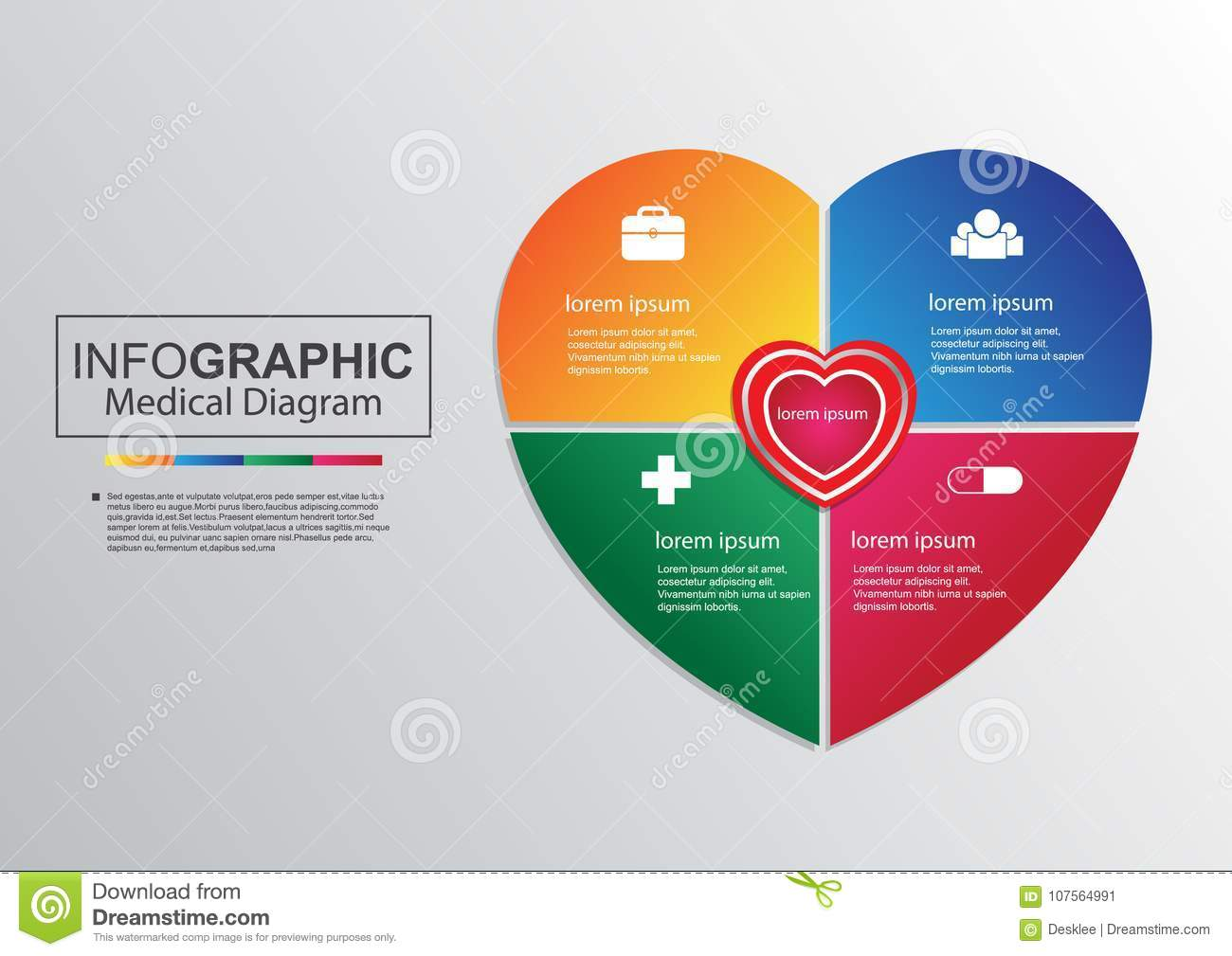 Business Vector Medical Diagram Heart Infographic Stock