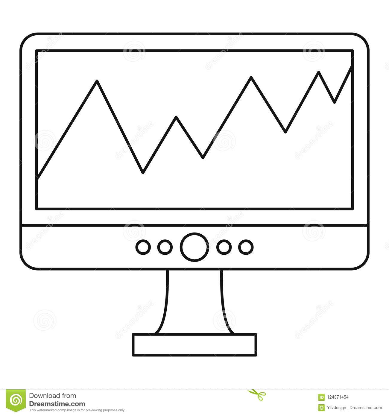 Graph On The Computer Monitor Icon  Outline Style Stock