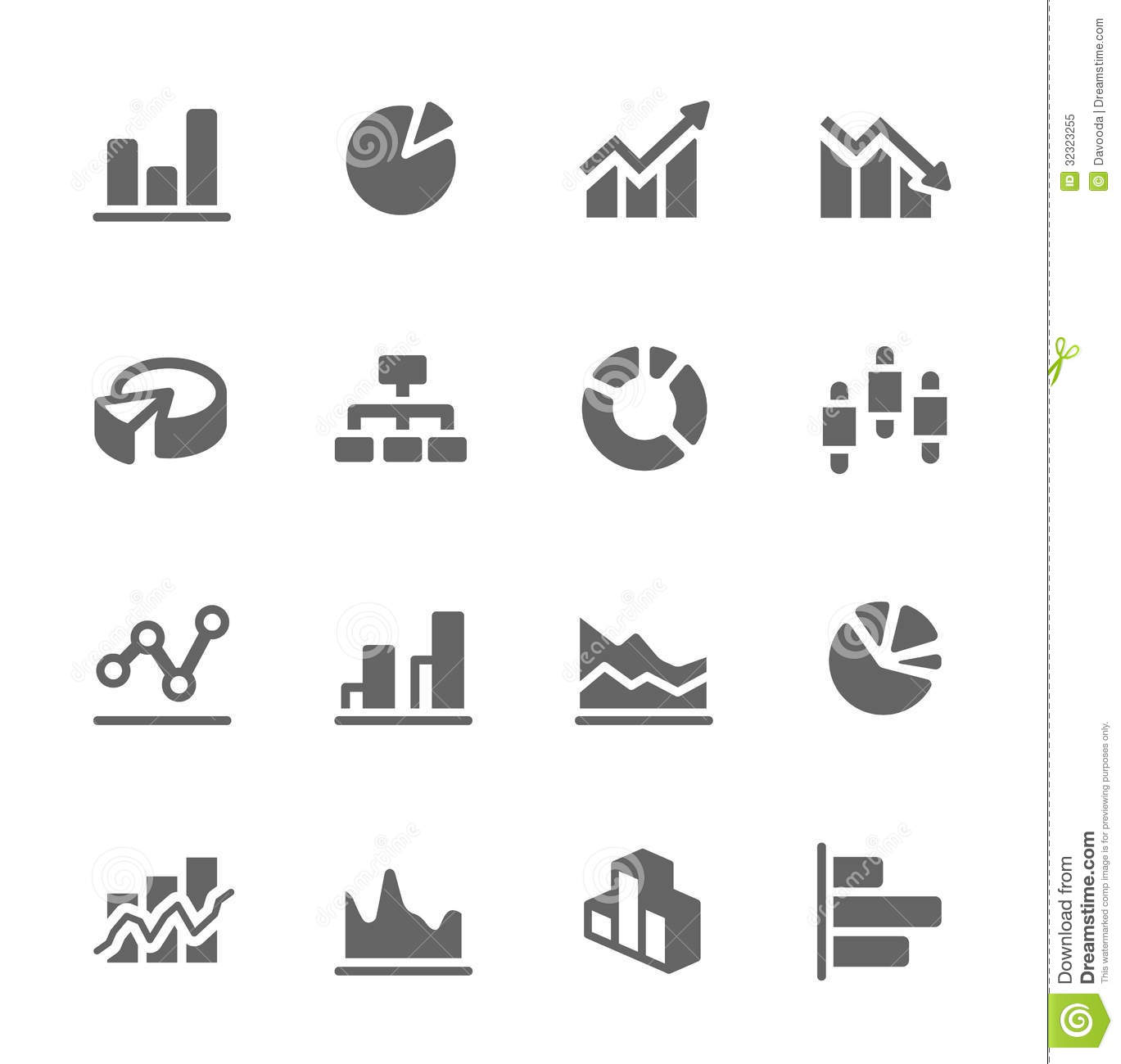 graph and diagram icon set  stock vector