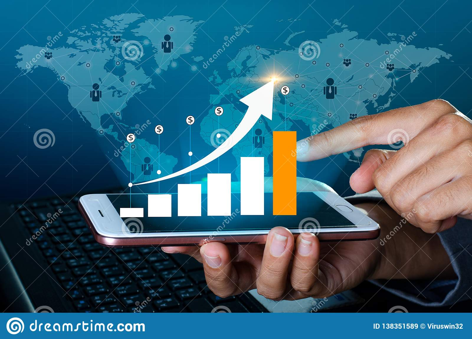 Graph of financial growth global communications Binary Smart Phones and world Internet Business people press the phone to communic