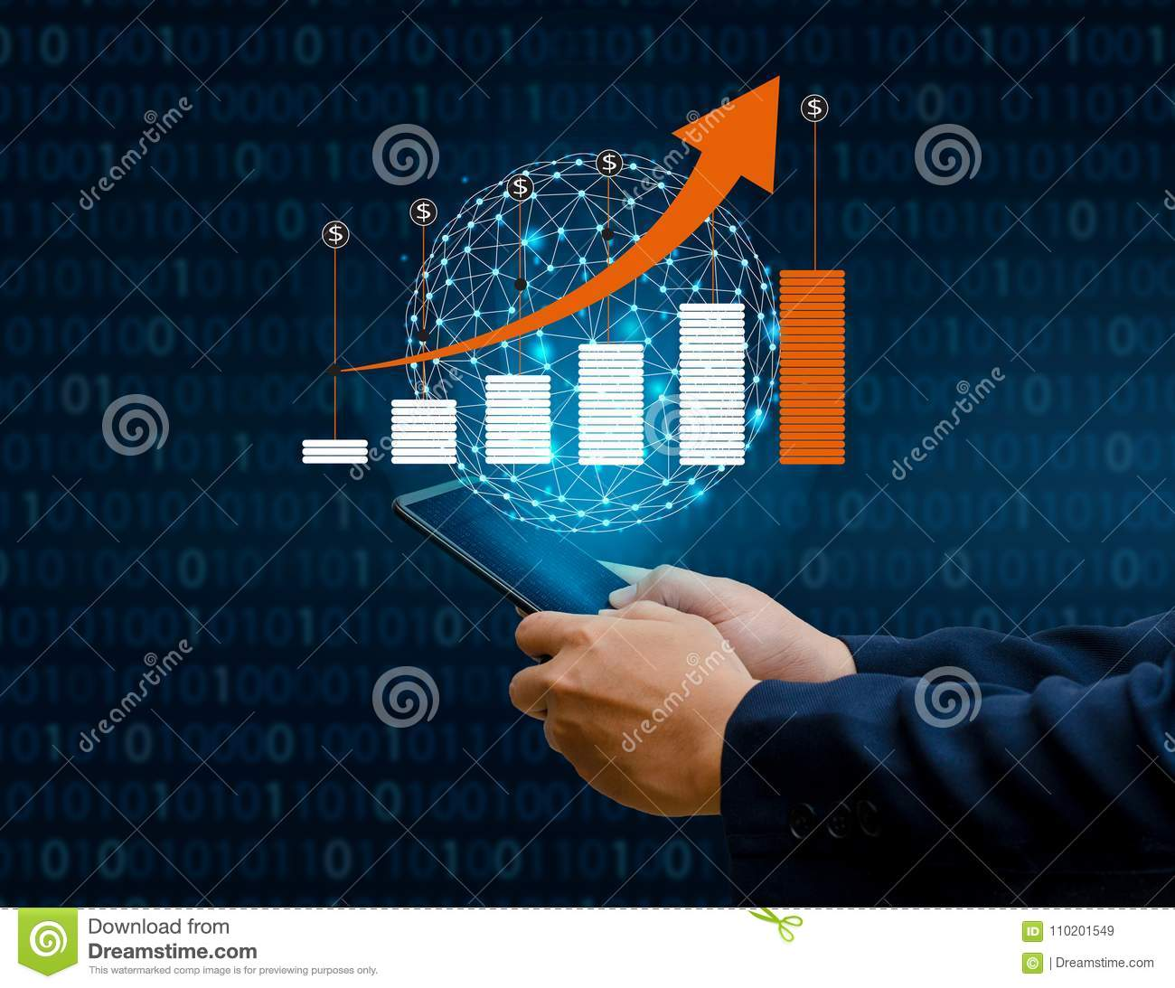 Graph of financial growth global communications Binary Smart Phones and world Internet Businesspeople press the phone to communica