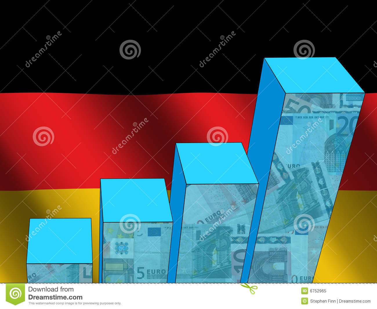 Graph with German flag stock illustration  Illustration of