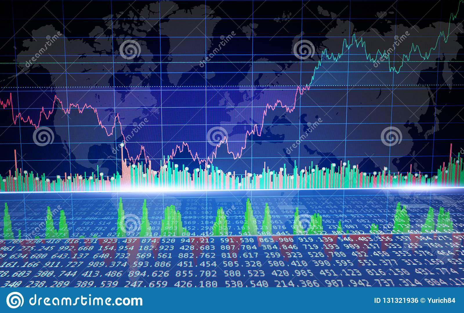 Graph of global market, finance business data concept. Cryptocurrency trading