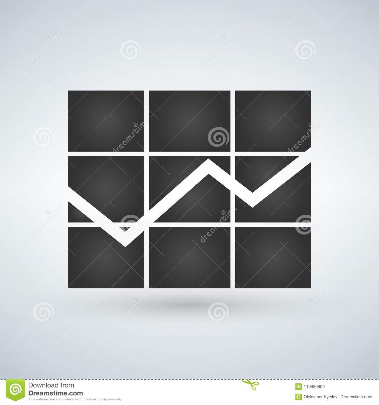 Graph Icon In Trendy Flat Style Isolated On White Background Chart