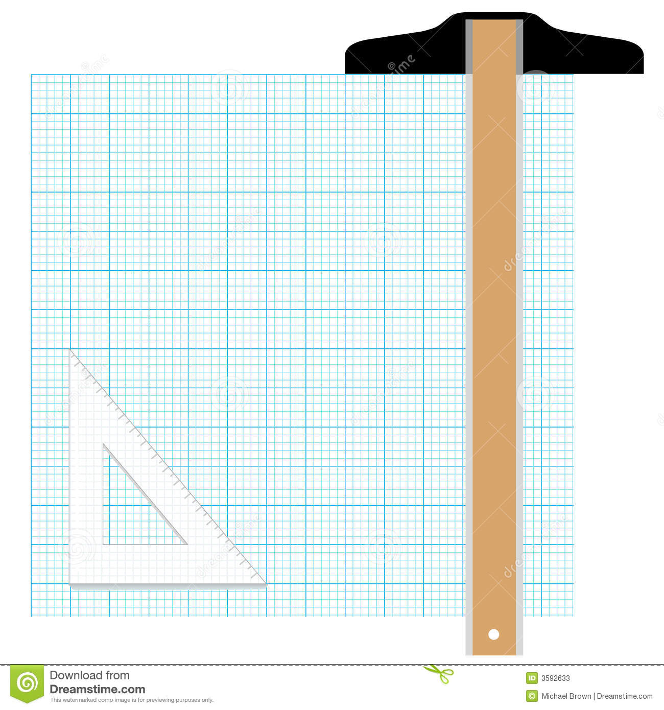 graph paper drafting tools stock vector illustration of drawing