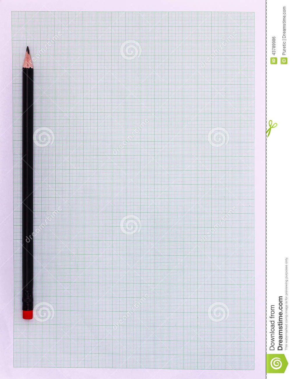 Graph paper with pencil stock photo  Image of cross, graph - 43789986