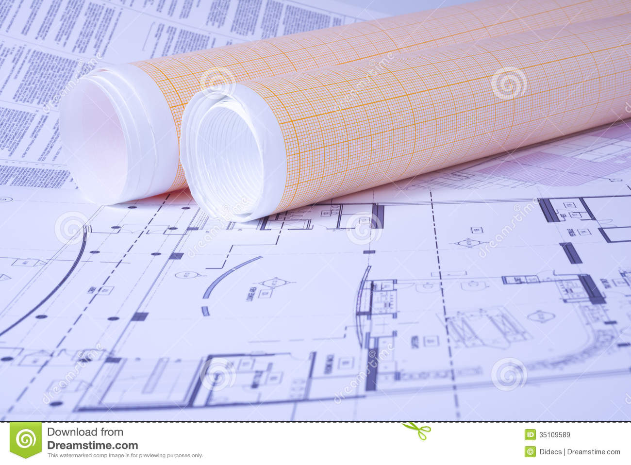 graph paper rolls on engeneering drawing background
