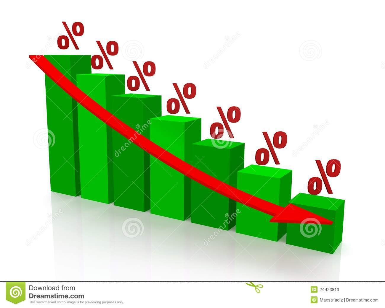 Graph Reduction Of Percent Stock Photos - Image: 24423813