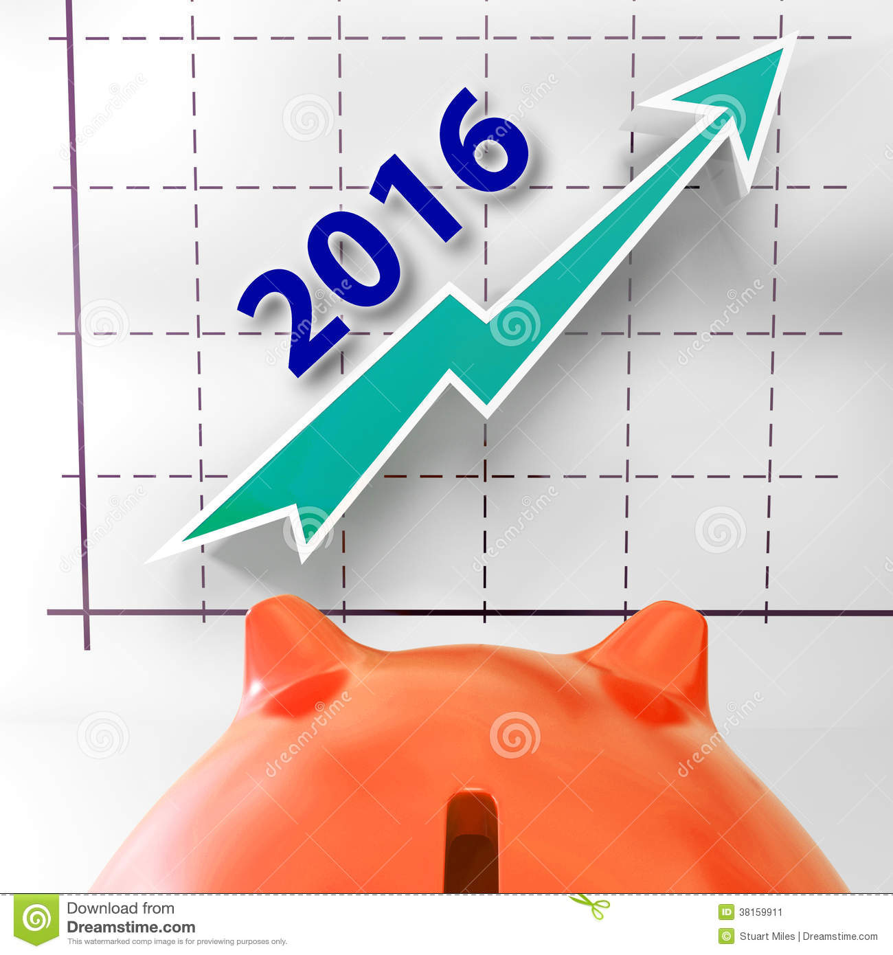 Graph 2016 Shows Forecast Of Rising Sales Stock Image - Image ...