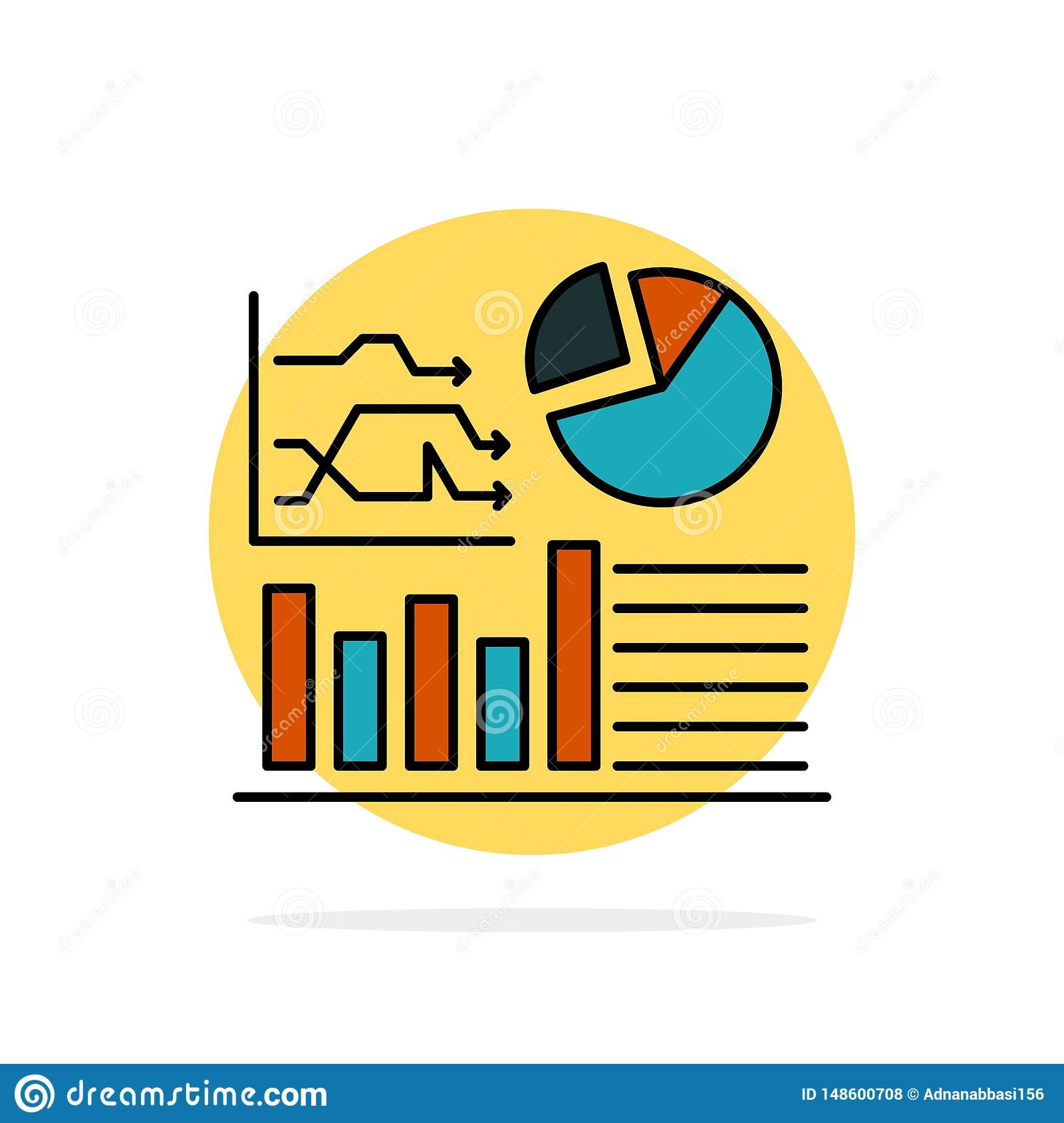 Graph, Success, Flowchart, Business Abstract Circle Background Flat color Icon
