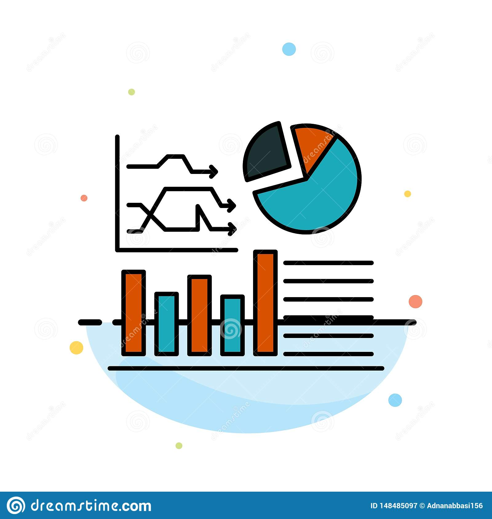 Graph, Success, Flowchart, Business Abstract Flat Color Icon Template