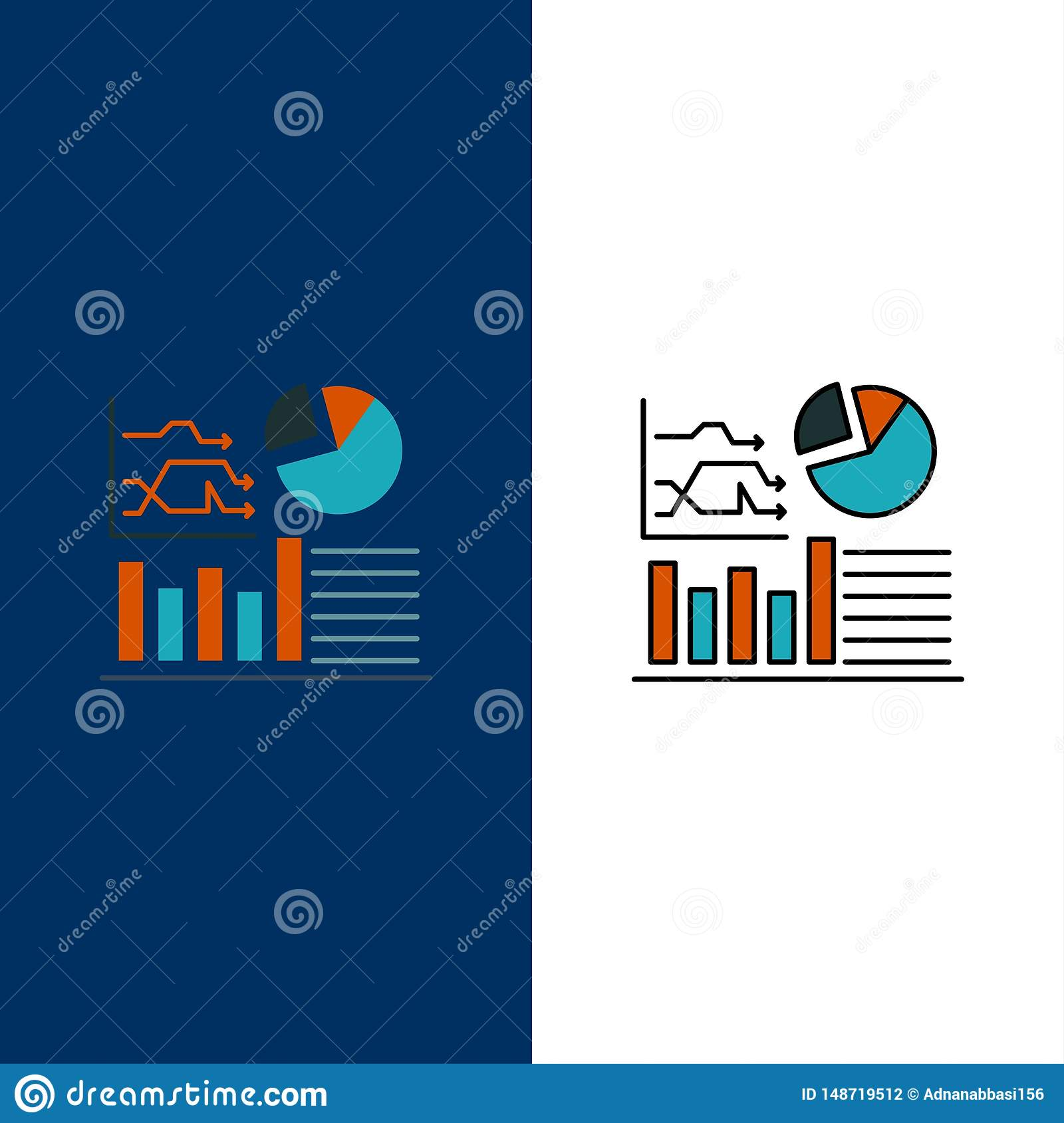 Graph, Success, Flowchart, Business Icons. Flat and Line Filled Icon Set Vector Blue Background