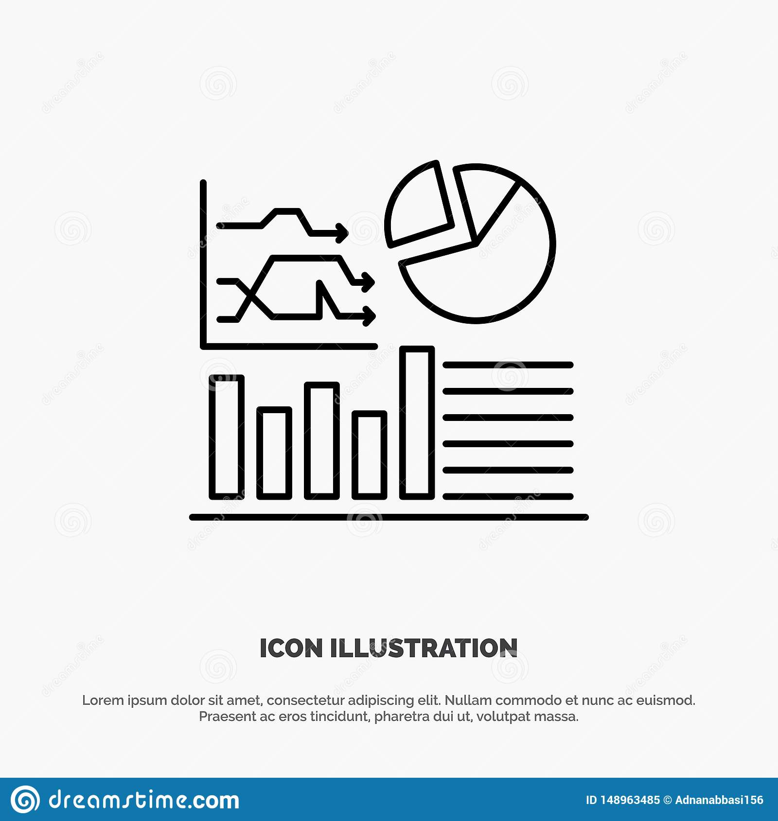 Graph, Success, Flowchart, Business Line Icon Vector