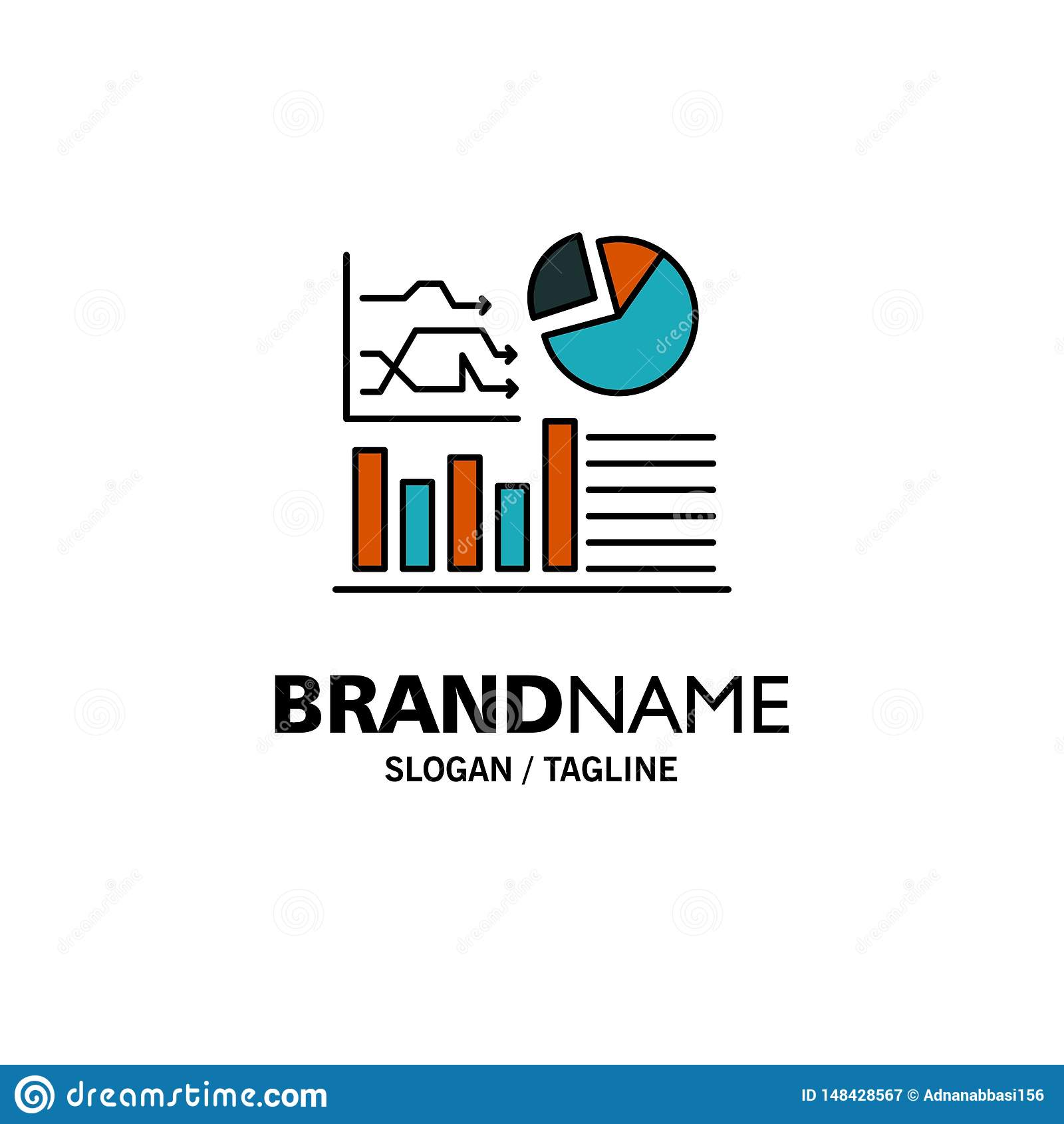 Graph, Success, Flowchart, Business Business Logo Template. Flat Color