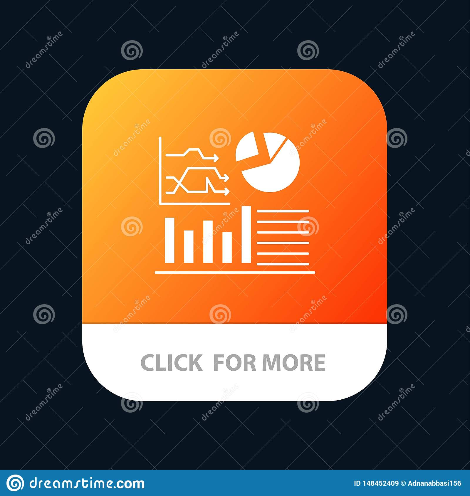 Graph, Success, Flowchart, Business Mobile App Button. Android and IOS Glyph Version
