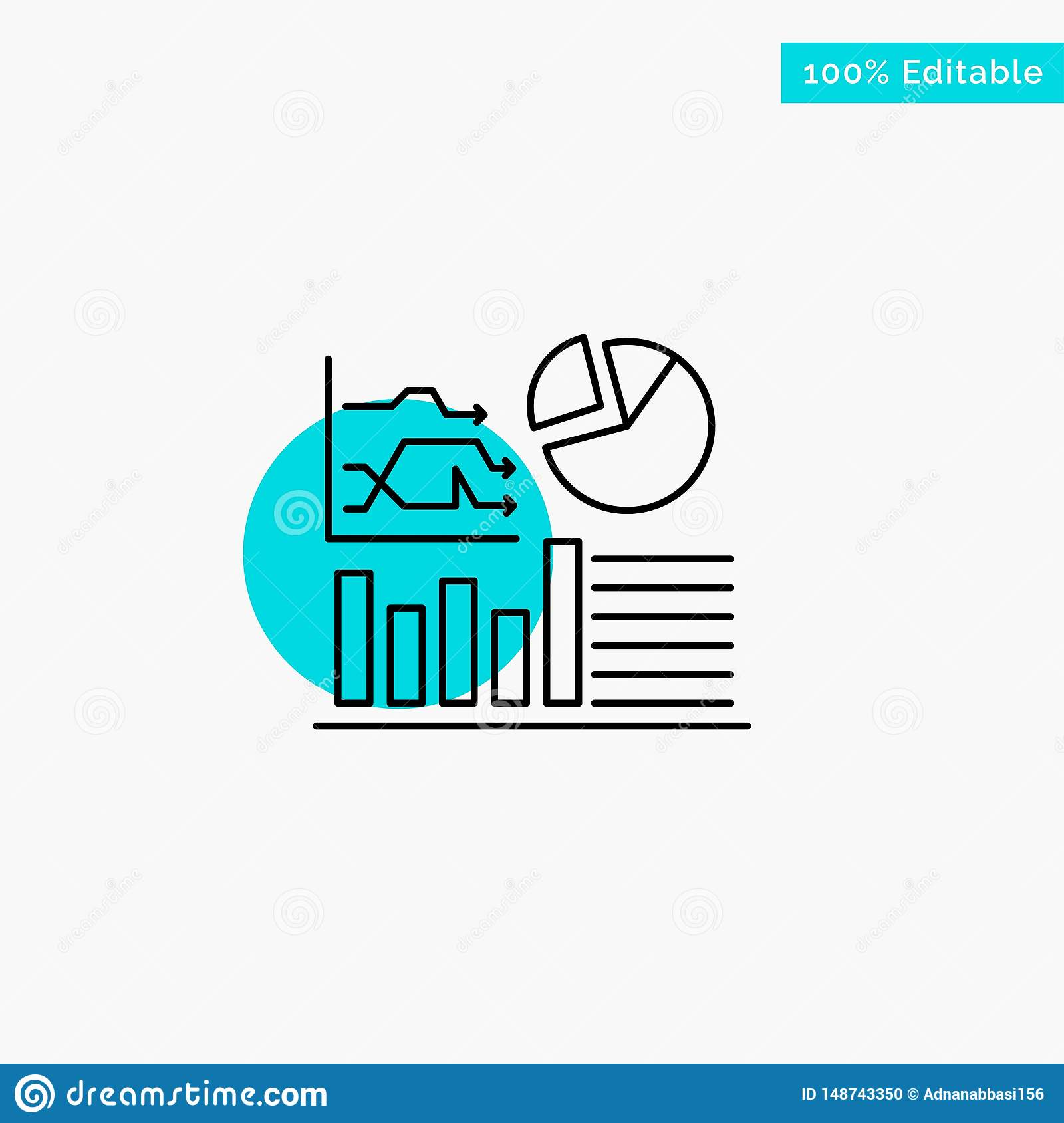 Graph, Success, Flowchart, Business turquoise highlight circle point Vector icon