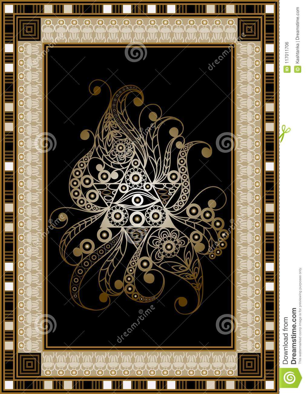 Graphical Illustration With Occult Symbol 9 Stock Vector