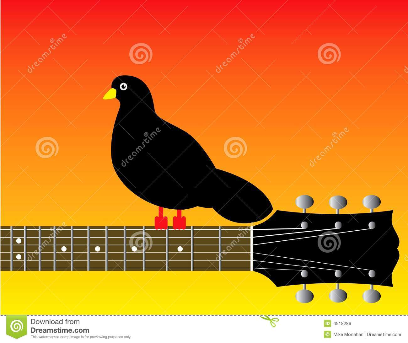 graphic of bird on guitar neck royalty free stock image image 4918286. Black Bedroom Furniture Sets. Home Design Ideas