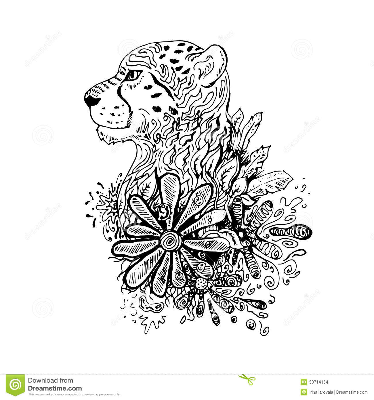 graphic black vector cheetah stock vector image 53714154