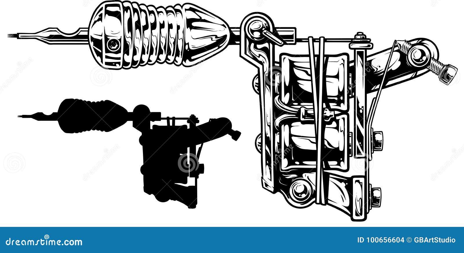Graphic Black And White Tattoo Machine Set. Vol. 3 Stock Vector ...