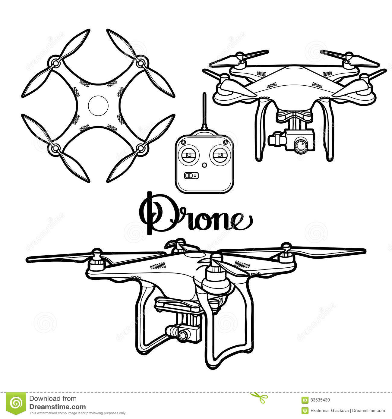 graphic collection of drones stock vector
