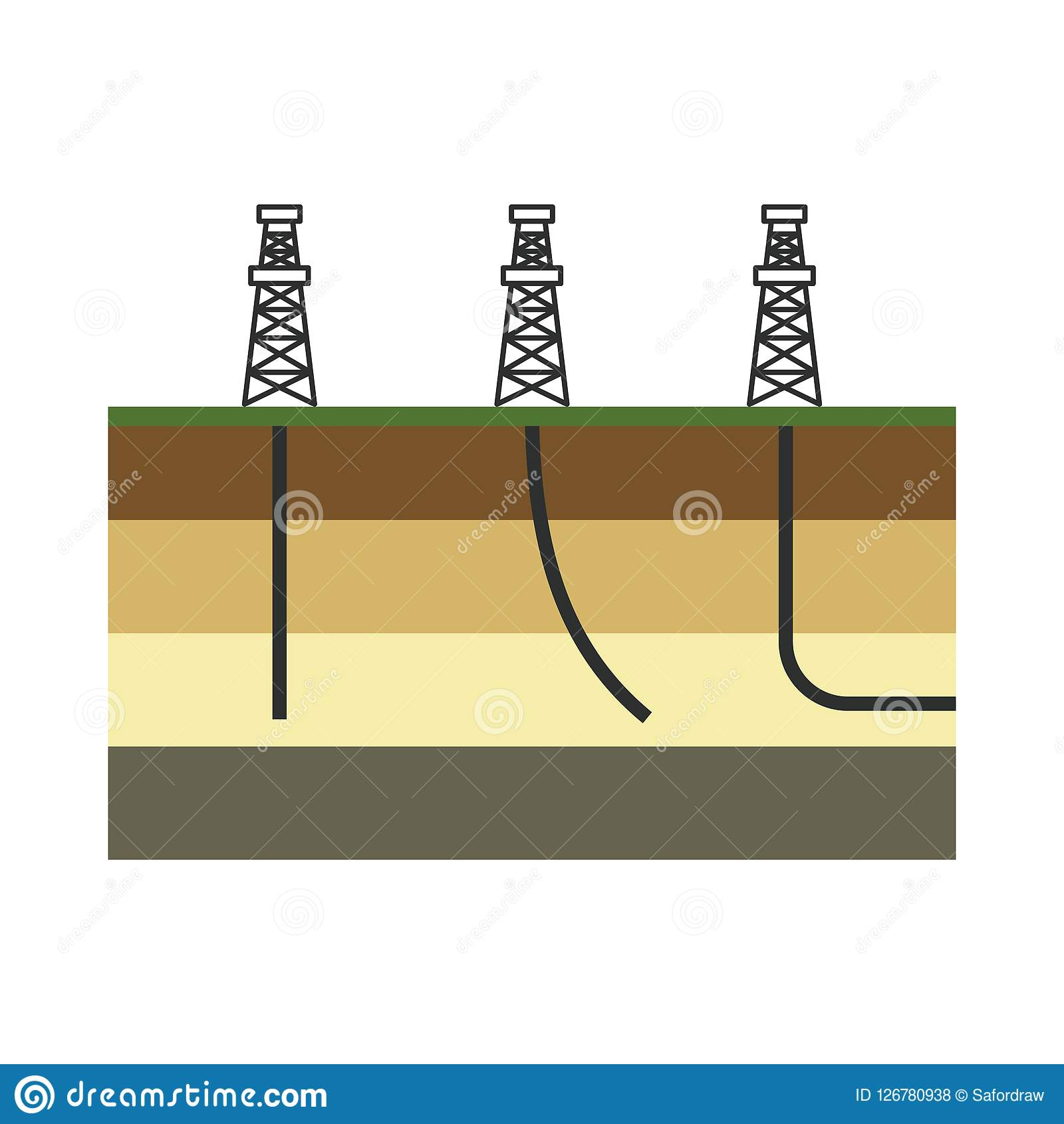 Graphic colorful vector illustration for oil and gas industry. T