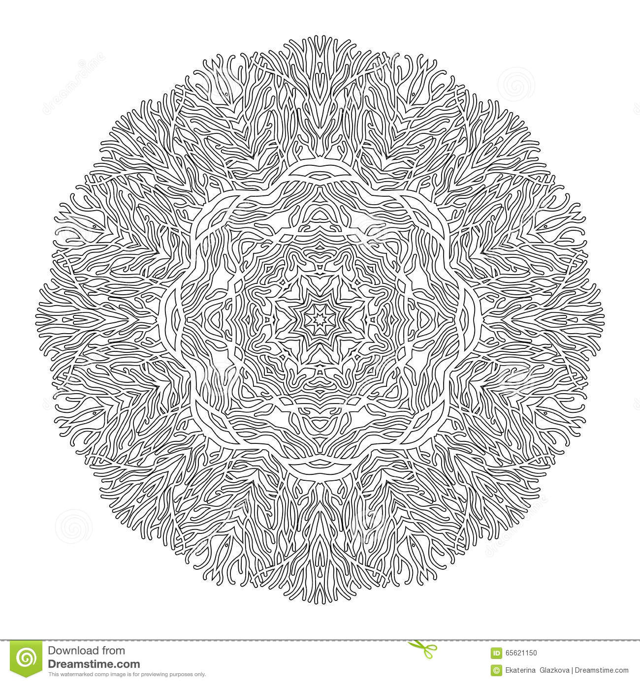 Abstract Circle Coloring Pages : Graphic coral circle ornament stock vector image