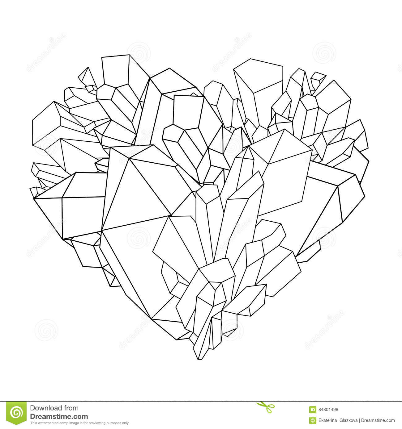 Graphic Crystals In The Shape Of Heart Drawn Line Art Style Vector