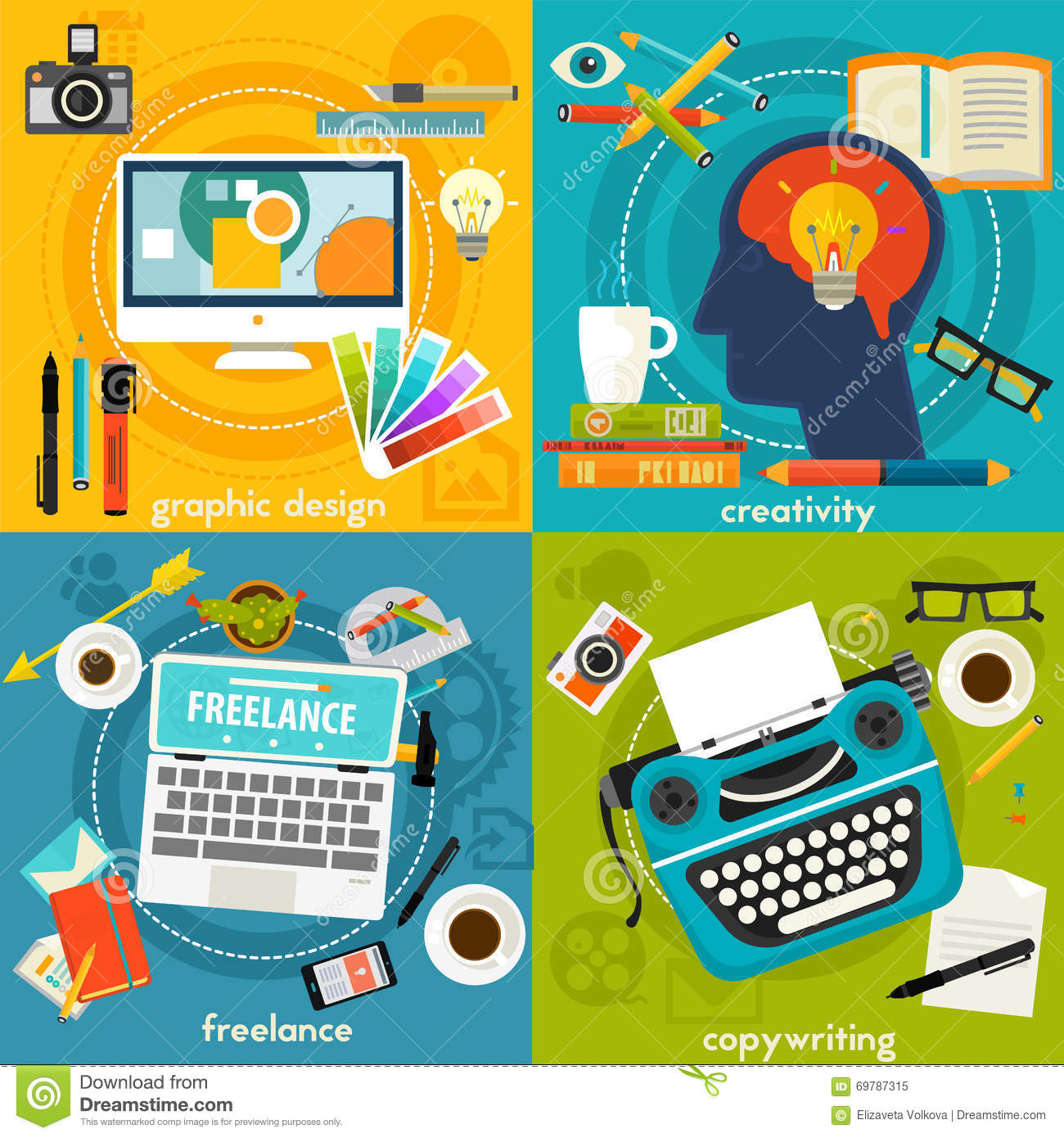 Graphic Deign Copywriting Creativity And Freelance Concept Banners Stock Vector Image 69787315