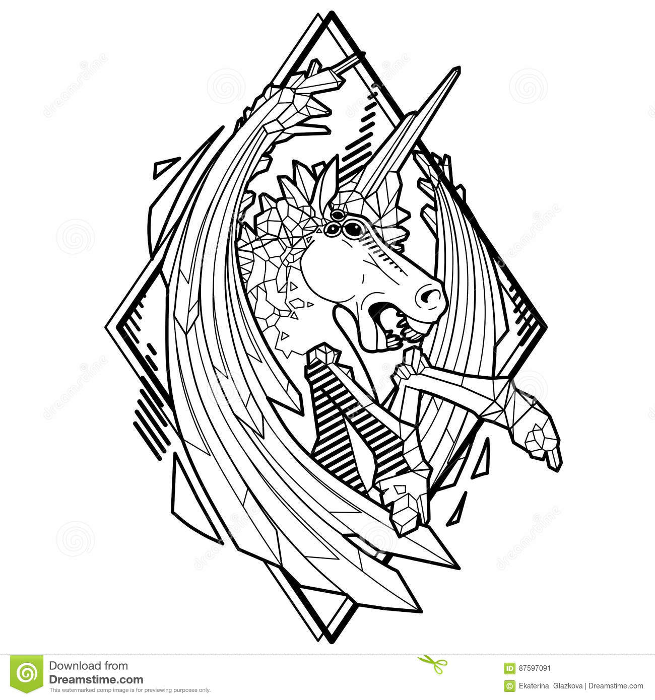 Evil unicorn with sword wings vector fantasy line art isolated on white background coloring book page design for adults