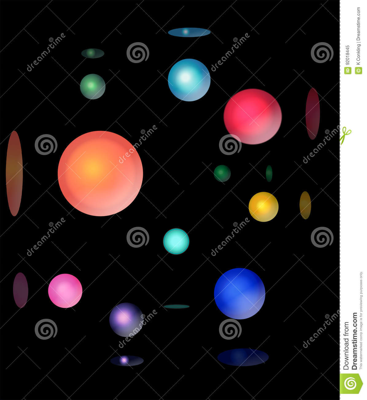 a graphic design of a black background with 3d balls of different
