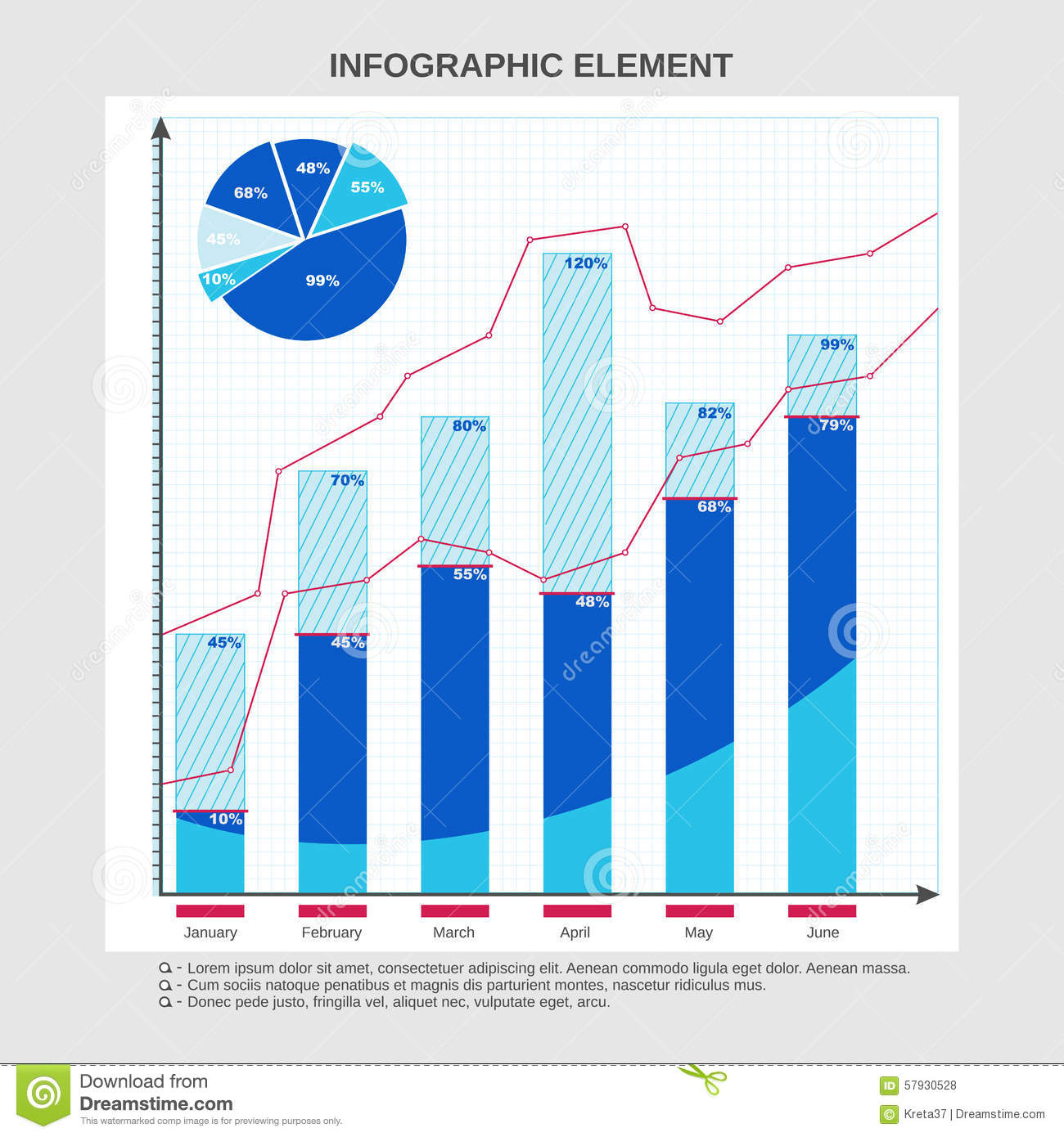 Table chart design - Royalty Free Vector