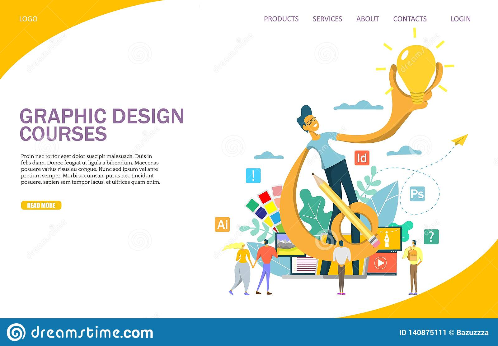 Graphic Design Courses Vector Website Landing Page Design Template Stock Vector Illustration Of Creative Layout 140875111