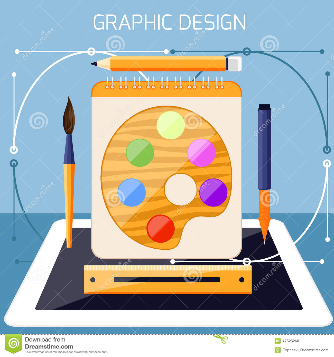 Graphic Design And Designer Tools Concept Stock Vector Illustration Of Organization Drawing 47525260