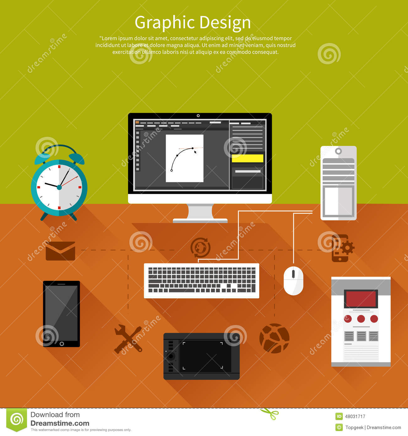 Graphic Design And Designer Tools Concept Stock Vector