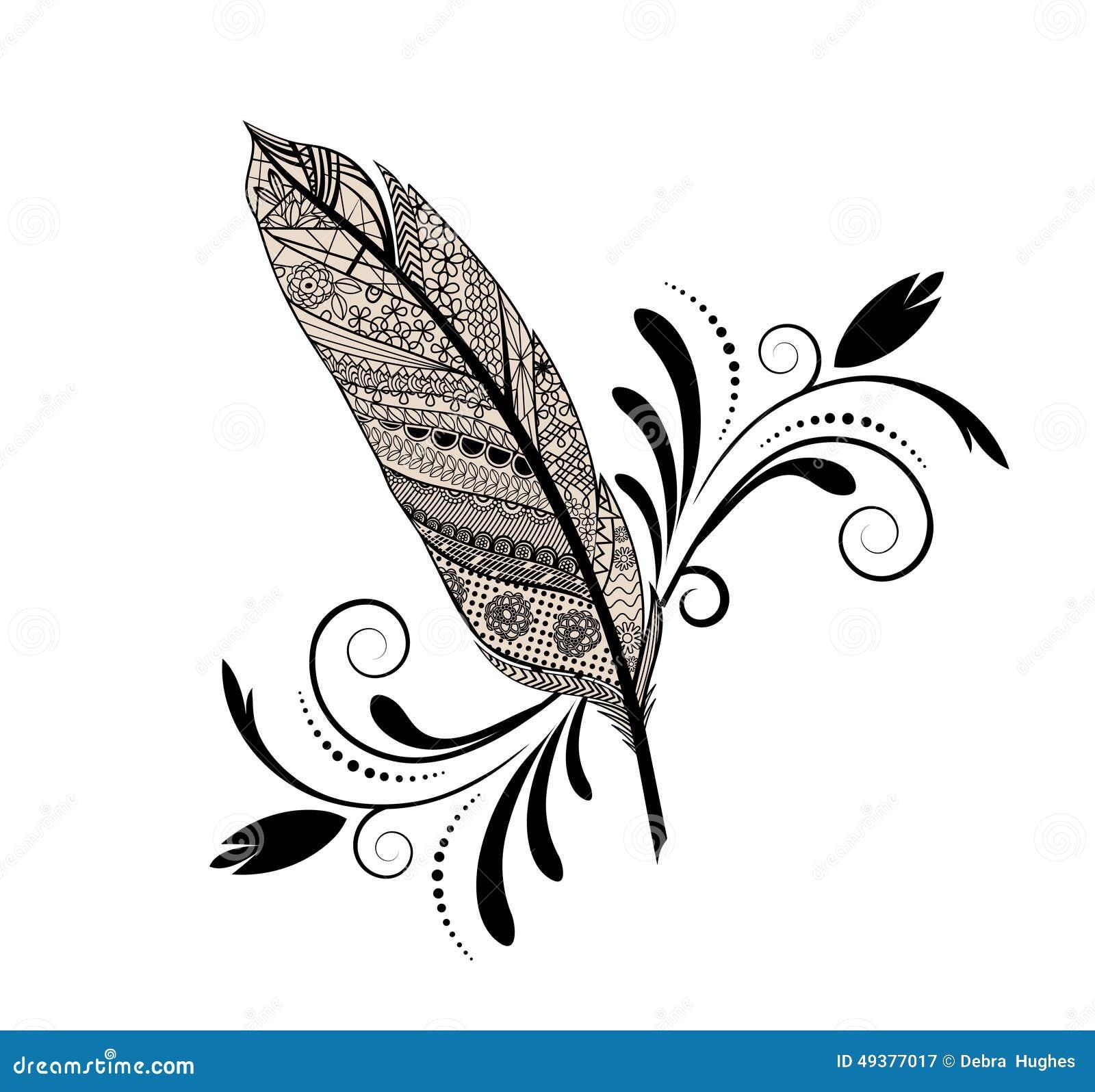 Graphic design feather stock vector. Image of flourish