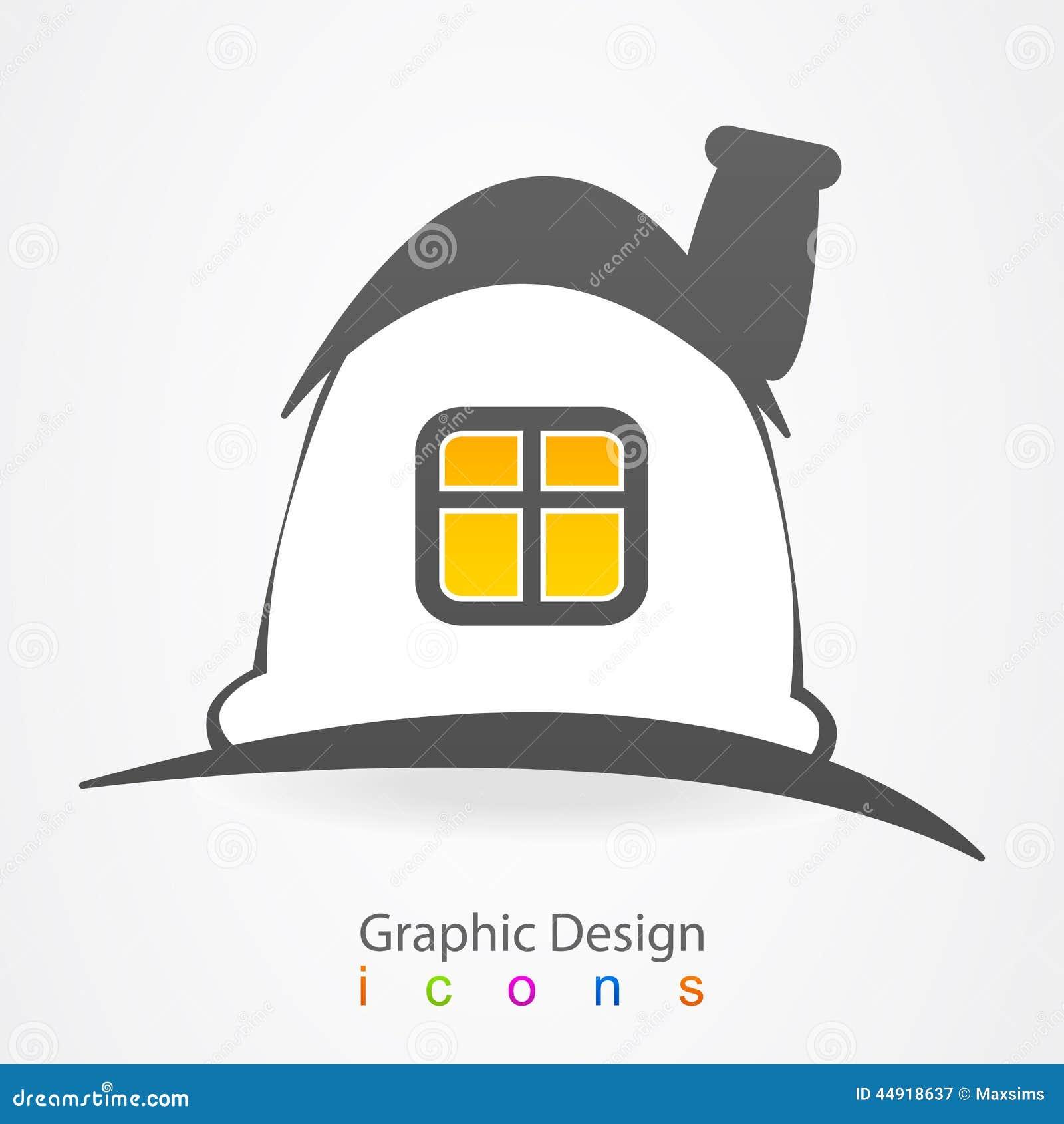 Graphic Design House Magic Logo Icon Stock Photo Image