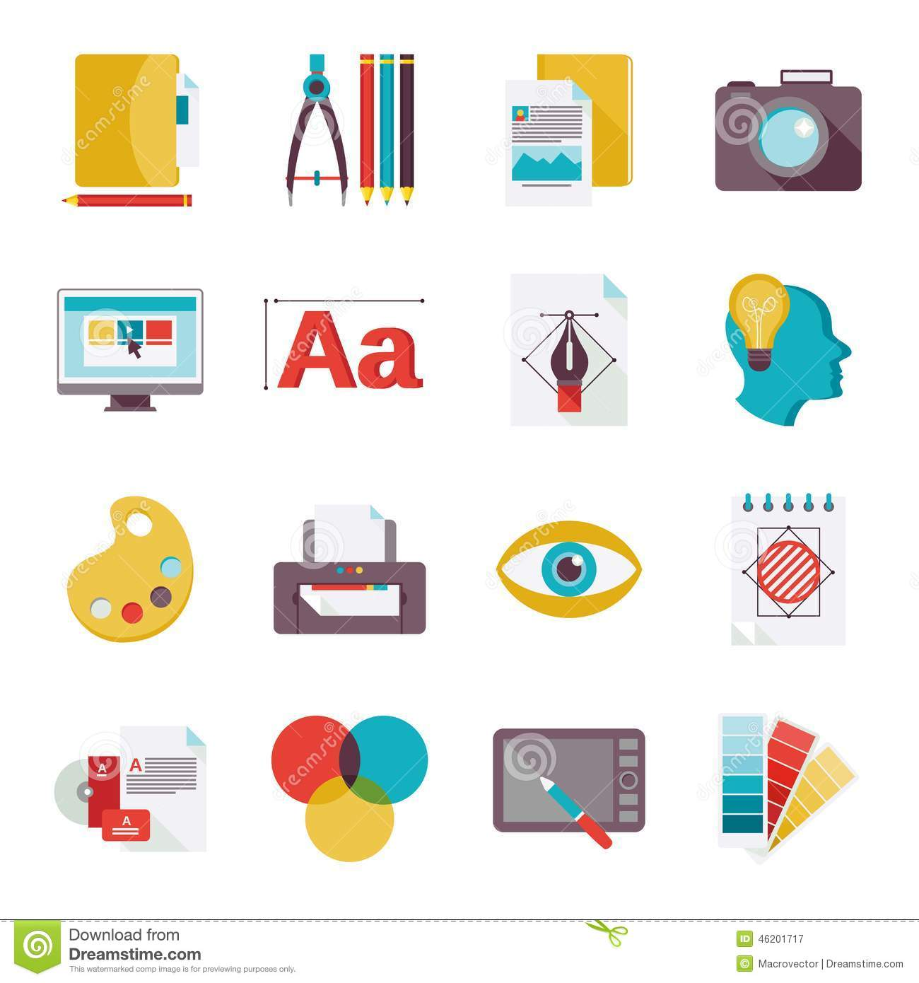 Graphic design studio tools creative process flat icons set isolated