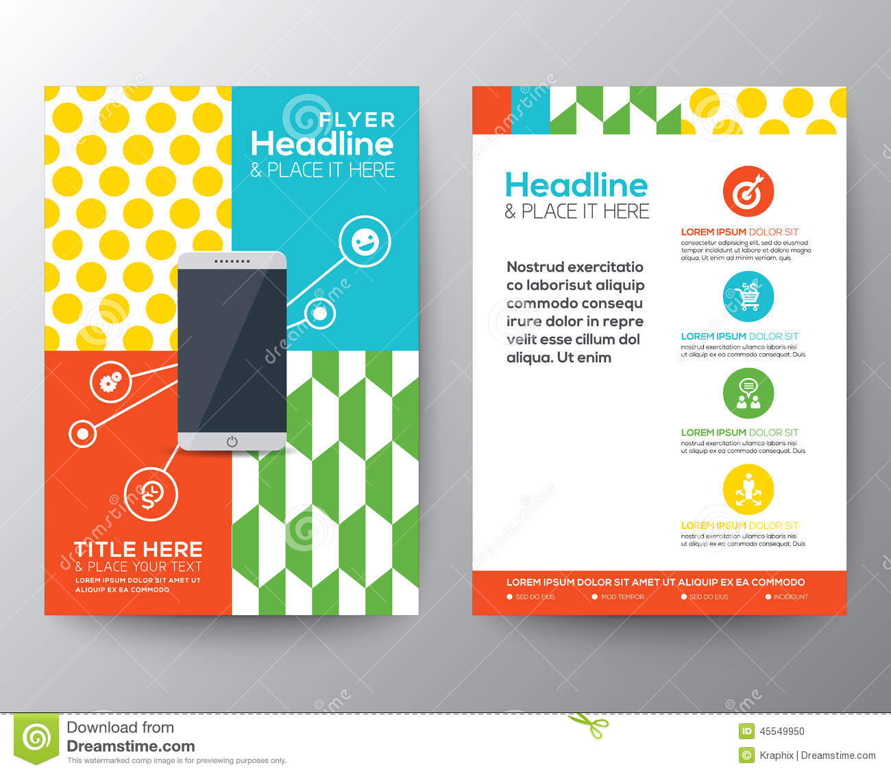 Graphic design layout with smart phone concept template for Graphic design brochure templates