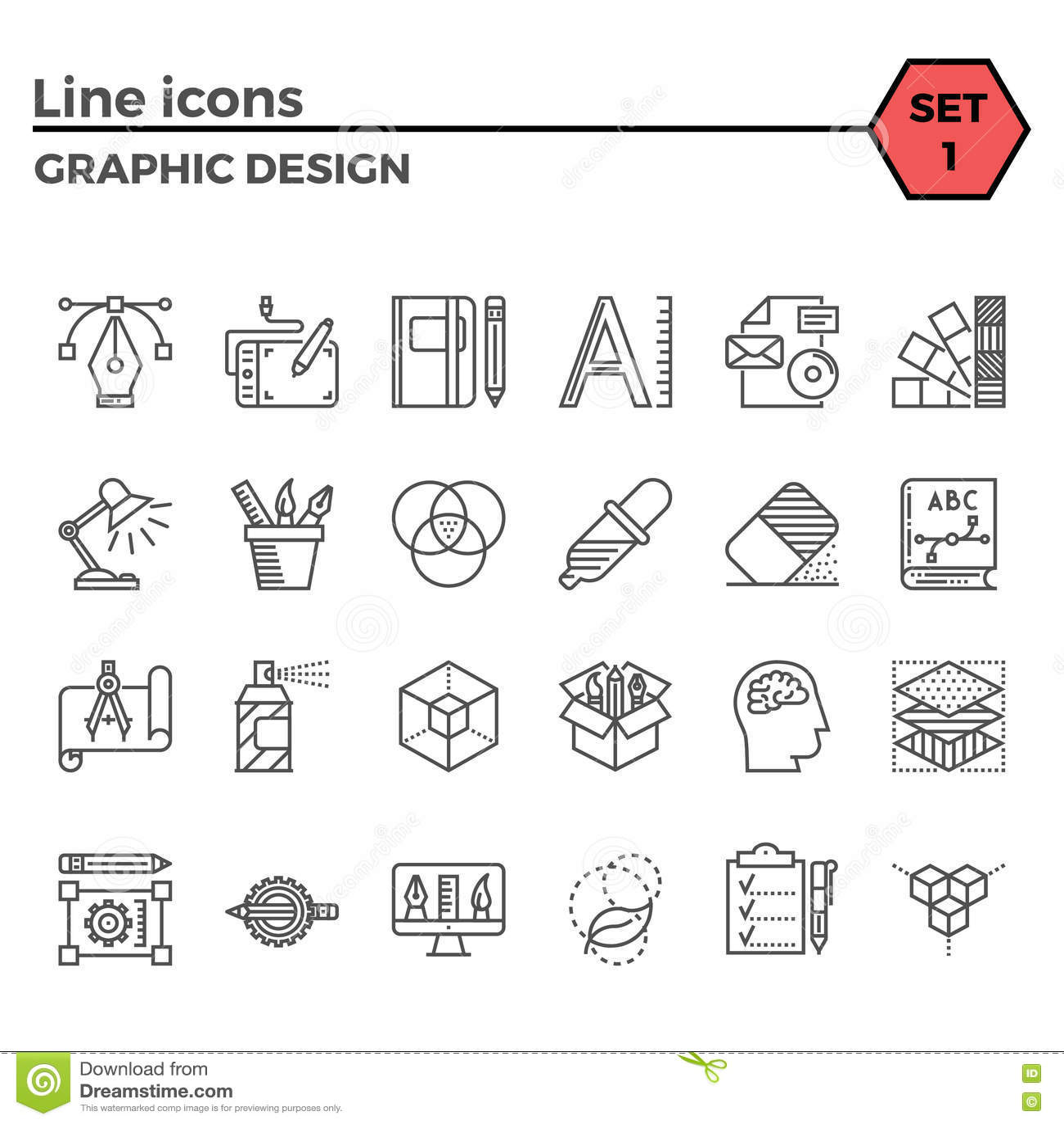 Line Graphic Design : Graphic design thin line icons set stock vector image