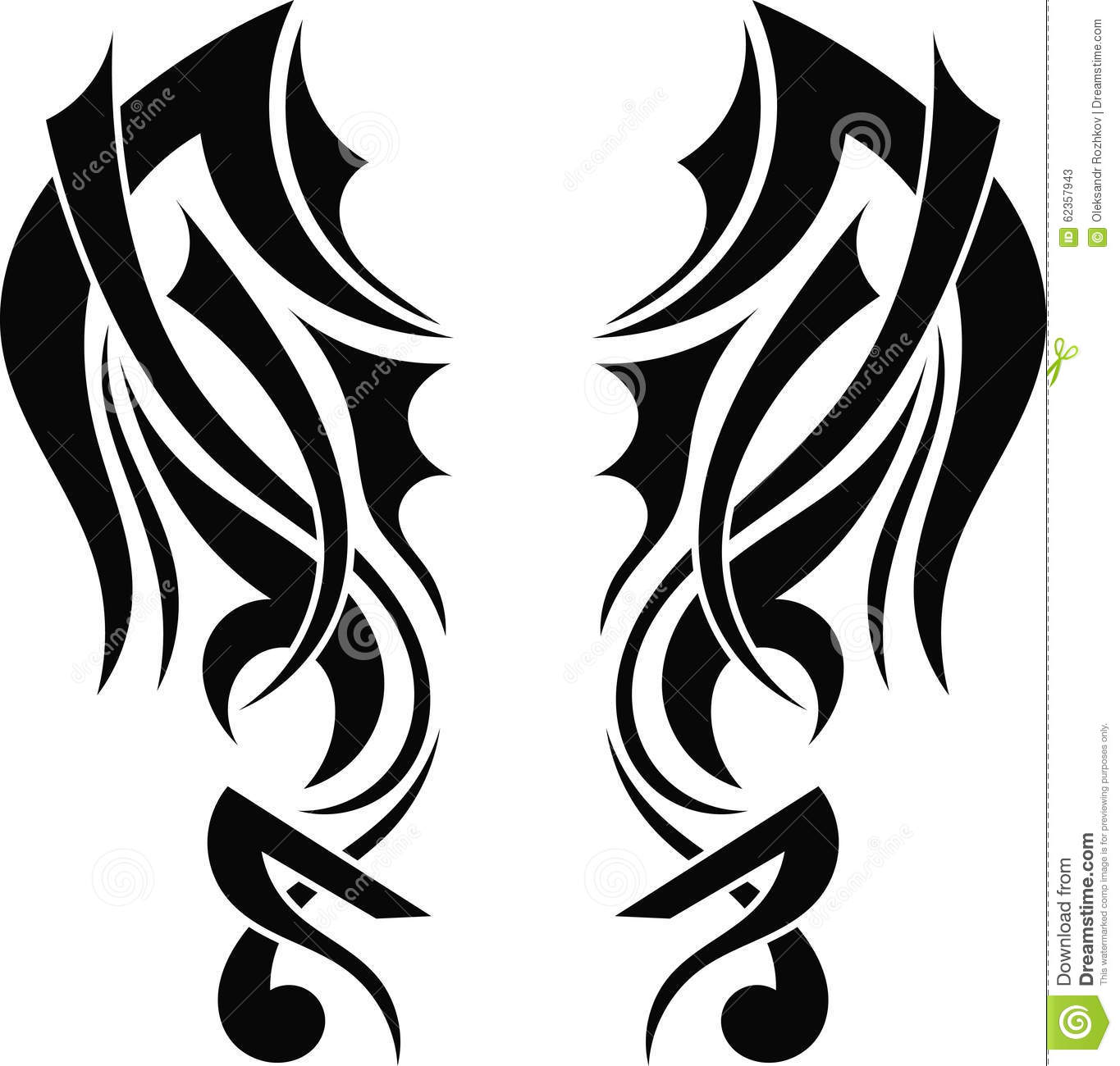 Tattoo Designs White Background: Graphic Design Tribal Tattoo Wings Stock Vector