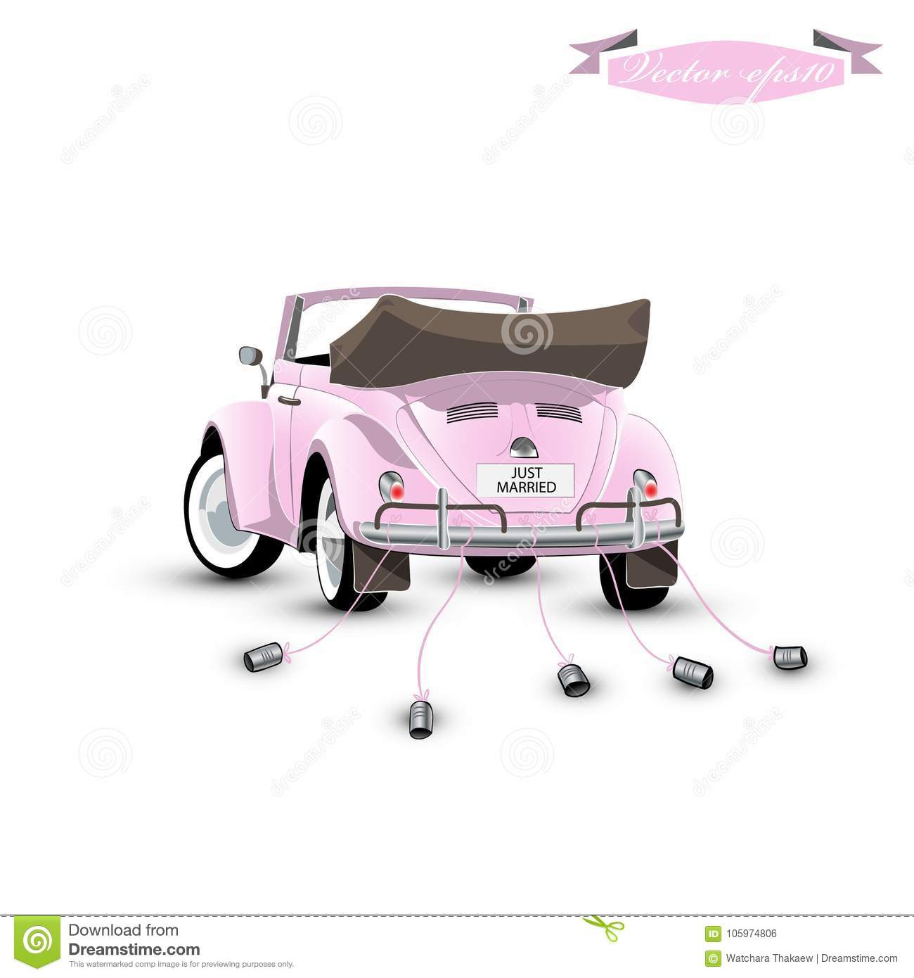 Graphic Design Vector Of Just Married Vintage Car With