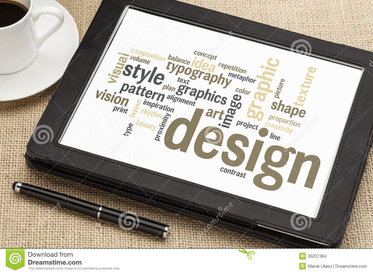 graphic design word cloud stock photo image of technology