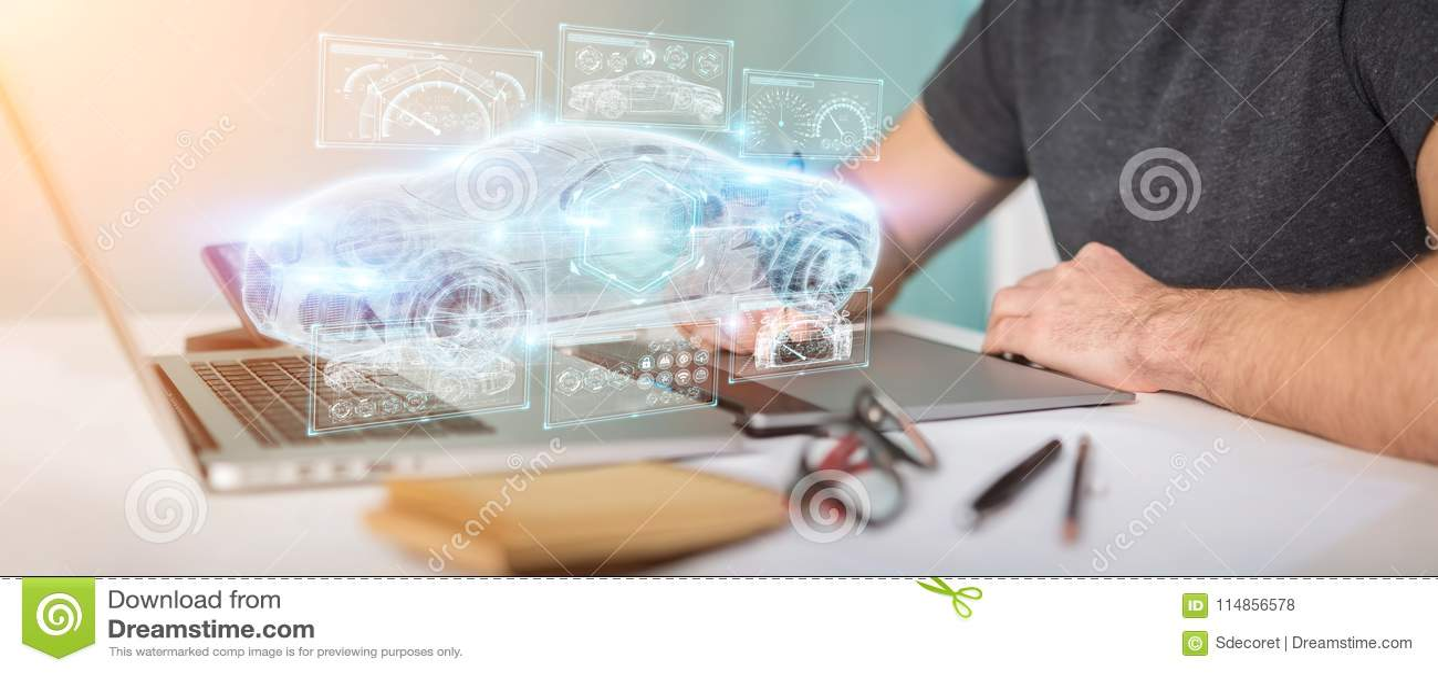 Graphic designer using modern smart car interface 3D rendering