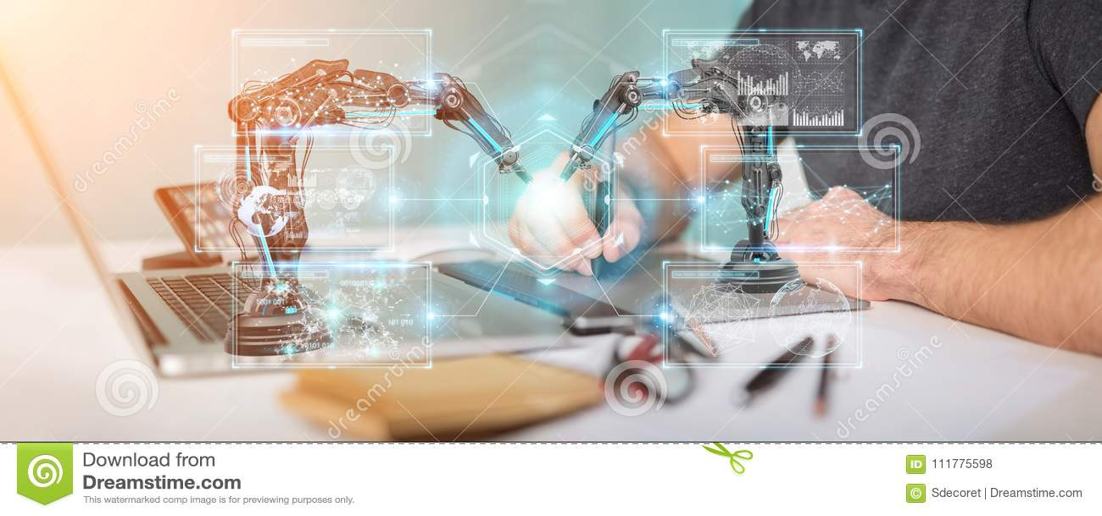 Graphic designer using robotics arms with digital screen 3D rend