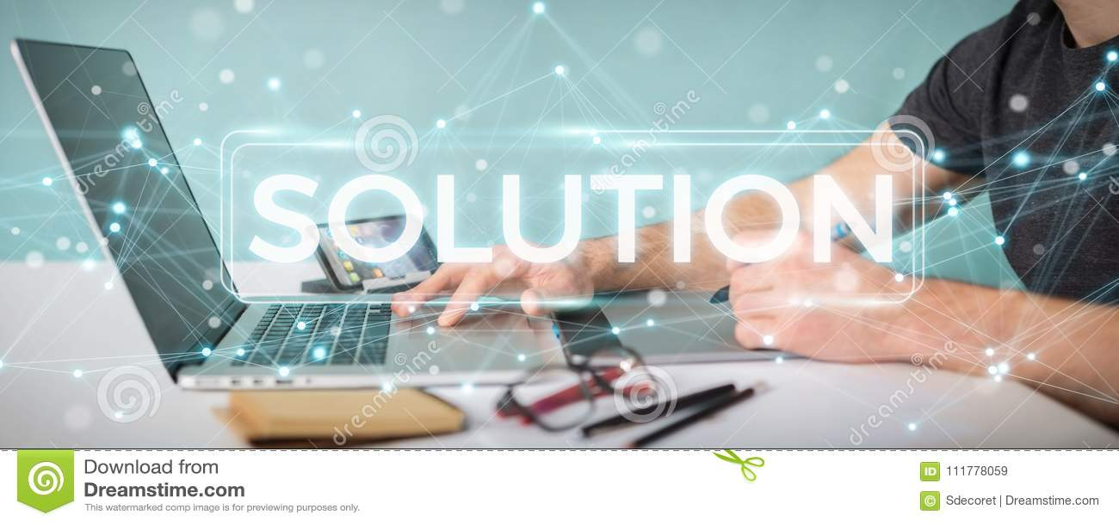 Graphic designer using solution digital text 3D rendering