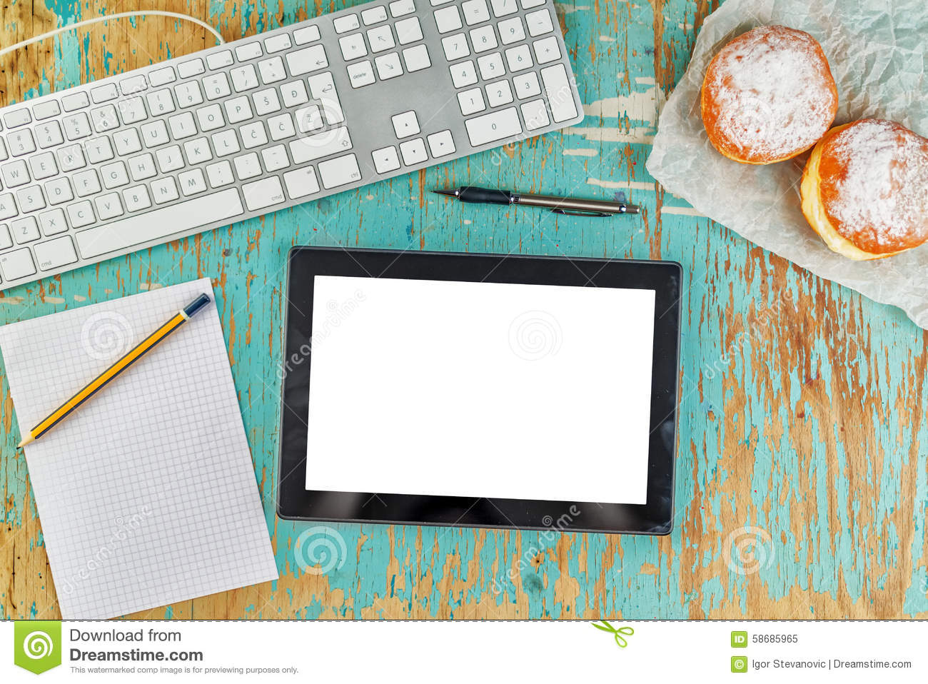 Graphic designer rustic tabletop workspace stock photo for Table graphic design