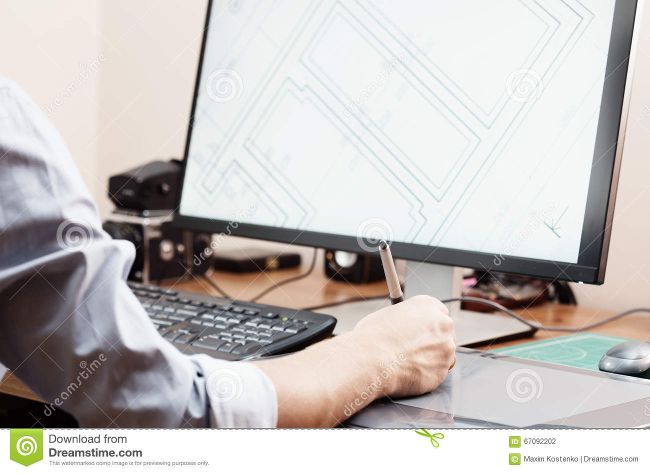 Graphic Designer Using Digital Tablet And Computer In Office Or Home ...