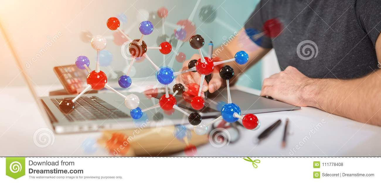 Graphic designer using modern molecule structure 3D rendering